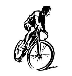 Hand sketch cyclist vector