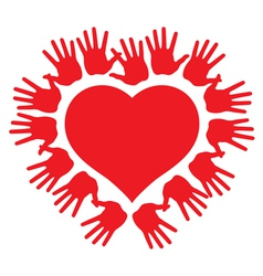 hands around a heart vector image vector image