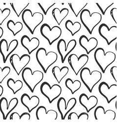 heart symbol seamless pattern hand drawn sketch vector image