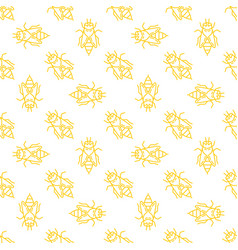 Honey bee seamless pattern in thin line vector