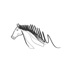 horse race doodle drawing running fast speed pet vector image