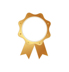 isolated gold color award medal ribbon badge vector image