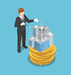 isometric businessman use magic to build the vector image