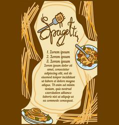 Italian spaghetti concept banner hand drawn style vector