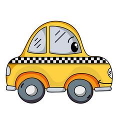 kawaii happy taxi car transport vector image
