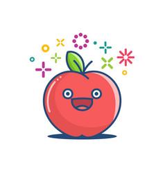 kawaii smiling apple emoticon cartoon vector image