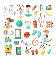 kids doing sport games cartoon vector image