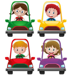 kids driving in four different car vector image