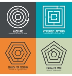 Labyrinth maze shape logo design set vector