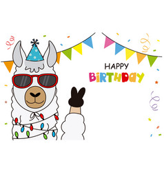 Llama with glasses and party hat vector