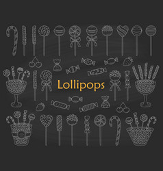 Lollipop set hand drawn doodle vector