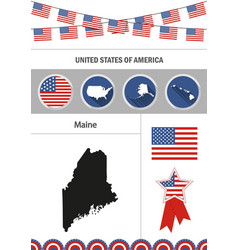 Map of maine set of flat design icons nfographics vector