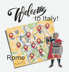 Map rome gladiator set vector
