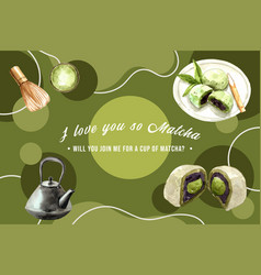 Matcha sweet frame design with kettle chasen vector