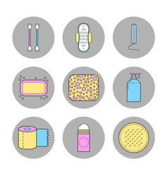 Means female hygiene flat icons shower gel a vector
