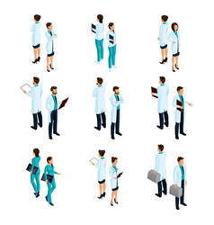 Medical workers in the isometric front and back vector