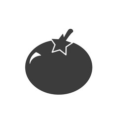 monochrome isolated tomato icon on white vector image