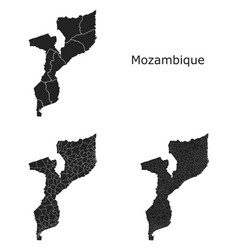 Mozambique map with regional division vector