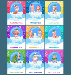 New year of pig winter holiday festive posters vector