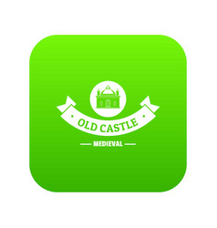 Old castle icon green vector