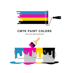 paint roller and paint can colorful design vector image