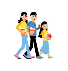 parents with their daughter wearing 3d glasses vector image