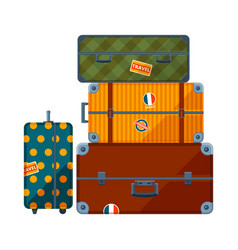 pile suitcases big set various travel cases vector image