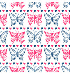 Pink butterfly pattern celebration seamless vector
