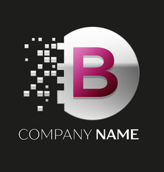 pink letter b logo symbol in silver pixel circle vector image