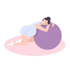 Pregnant in gym composition vector