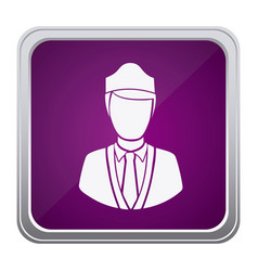Purple emblem guard person icon vector