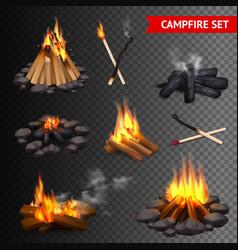 realistic campfire transparent set vector image