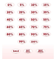 Retail sale percents icons set for your design vector image