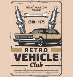 Retro car service and spares vector