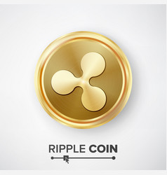 ripple coin gold coin realistic crypto vector image