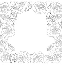 rose flower frame outline border vector image
