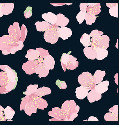 Sakura cherry pink blossom seamless pattern night vector