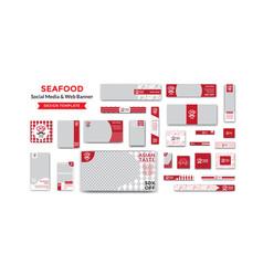 Sea food social media and web banner design vector