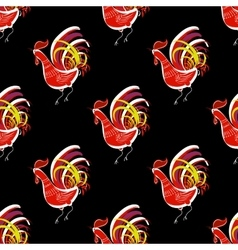 Seamless pattern with color fire cock Chinese vector