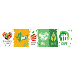 set logos diet and healthy eating vector image