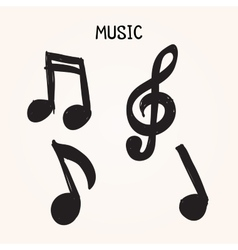Set of Hand-drawn music notes on white background vector image