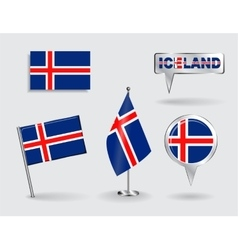 Set of Icelandic pin icon and map pointer flags vector image