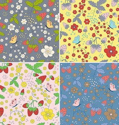 Set of seamless strawberry patterns vector image