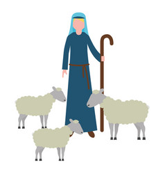 Shepherd with flock sheep character vector