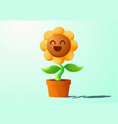 Smiling sunflower vector