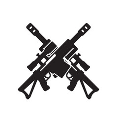 Sniper rifle icon two crossed guns on white vector