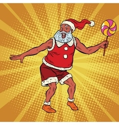 Southern santa claus dancing with lollipop vector