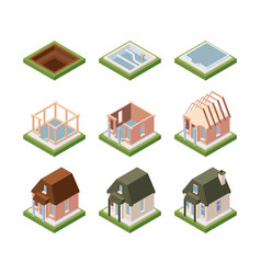 stages building house isometric excavation vector image