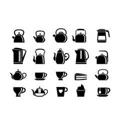 teapots and electric kettles silhouette set vector image