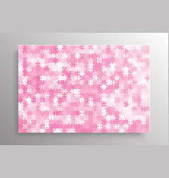 the pink pieces background puzzle jigsaw banner vector image